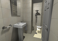 Wet room with walk in shower, complete with a range of assistive products including shower seat and various support rails