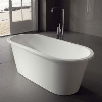Iona 1600 x 690 floor standing double ended bath by Ramsden and Mosley